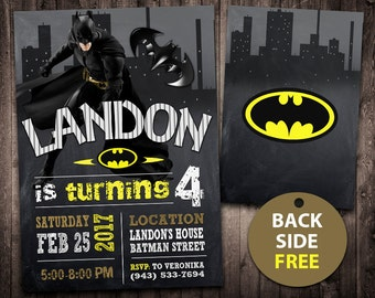Batman Invitation Birthday Card Invite Party Printable Digital