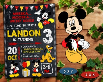 Mickey Mouse Invitation Birthday Printable Card Invite