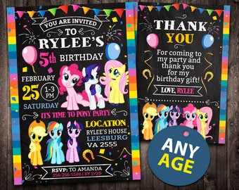 My Little Pony Invitation Birthday Printable Card