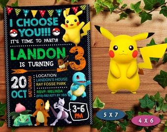 Pokemon Invitation Boy Birthday Invite Printable Card