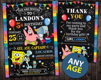 Spongebob Invitation Birthday Printable Card Invite