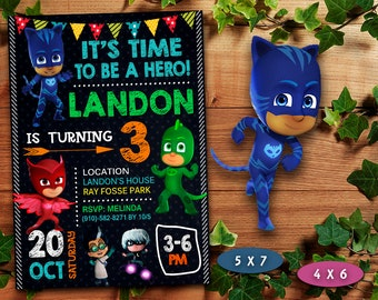 Pj Masks Invitation Birthday Boy Party Invite
