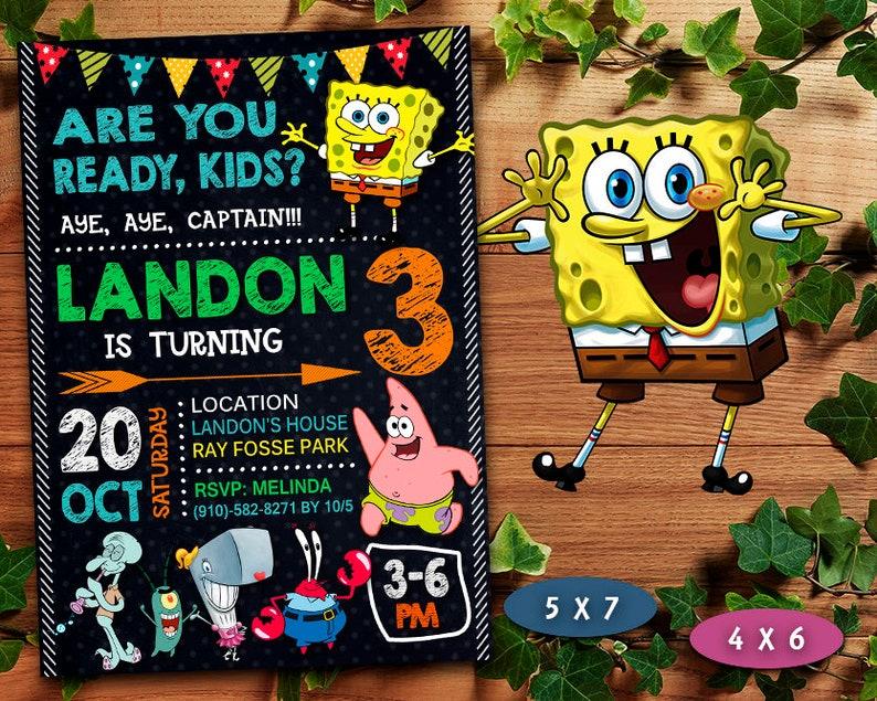 Spongebob Invitation Boy Birthday