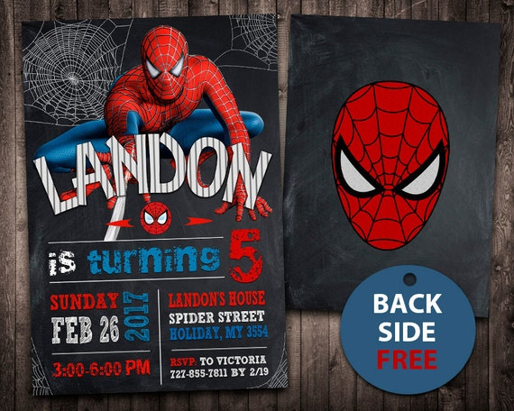 Spiderman Invitation Spiderman Birthday Invitation Etsy