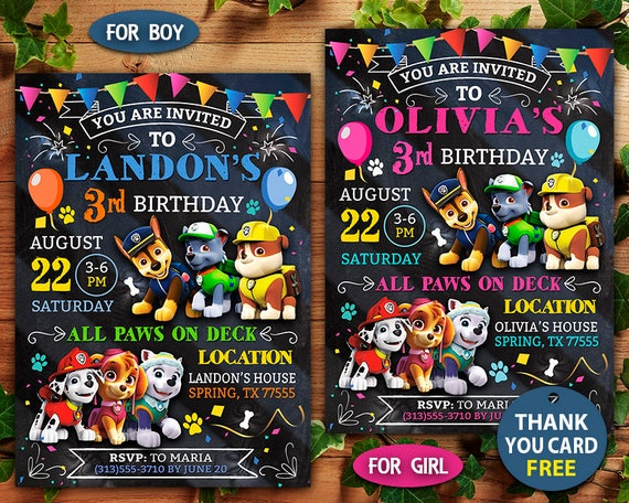 Paw Patrol Invitation Birthday