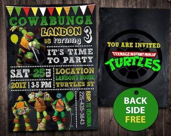Ninja Turtles Invitation, Ninja Turtles Birthday, Ninja Turtles, TMNT Invitation, Ninja Turtles Card, Ninja Turtles Invite Party