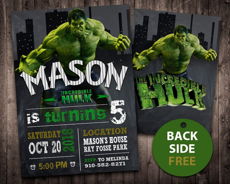 The Hulk Invitation Birthday