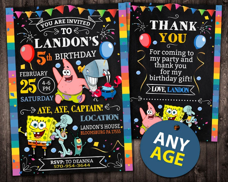 Spongebob Invitation Birthday