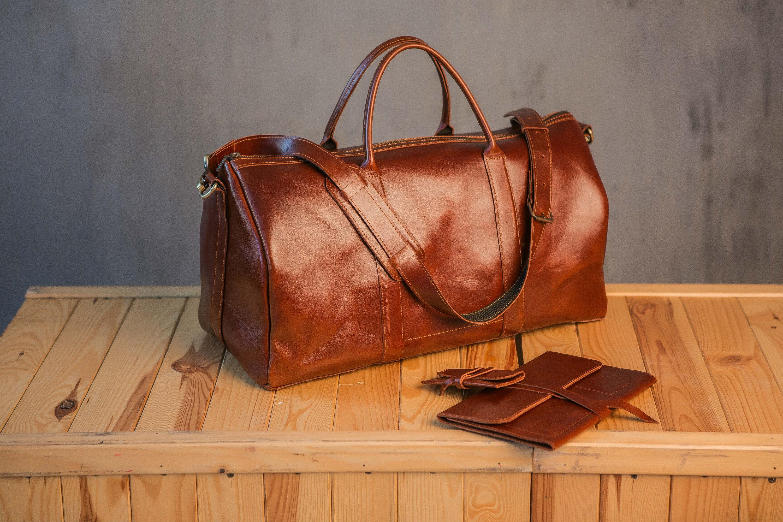 Brown weekend bag Leather duffel bag Leather travel bag  66ec8434268d3