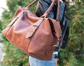 Leather weekend bag Brown overnigt bag Leather travel bag Men's leather duffels Leather gym bag  Vintage weekend bag Big bag Gift for him