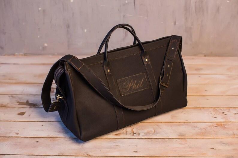 Black overnight bag duffel bag leather travel bag men s  d9f7110e350b3