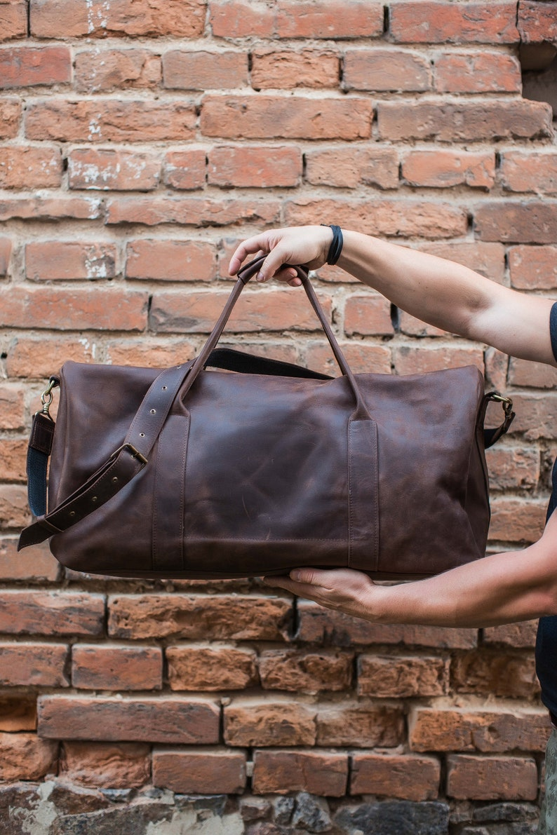 c802836e47440a Dark brown weekend bag Leather duffel bag Leather travel bag