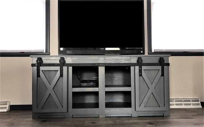 Modern Barn Door Style Tv Stand Modern Farmhouse Living Room Etsy