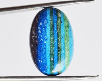Loose Semi Precious Size 21x8x3 MM Rainbow Calsilica Pair Cabochon 13415 Matched Pair Stone For Earring Handmade Stone Jewellery Making
