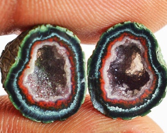 Gemstone From Mexico Amazing Quality Natural Tiny Agate Pair Gemstone 13547 Size 18x14x4 MM Matched Earring Pair Jewellery Making Stone