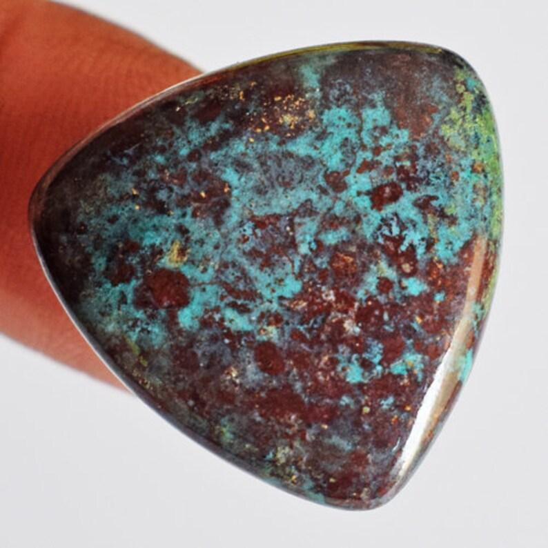 Jewellery Making Size 21x21x3 MM Stone For Pendant Handmade 20023 Trillion Shape Natural Red Green Sonora Jasper Cabochon Smooth Jasper