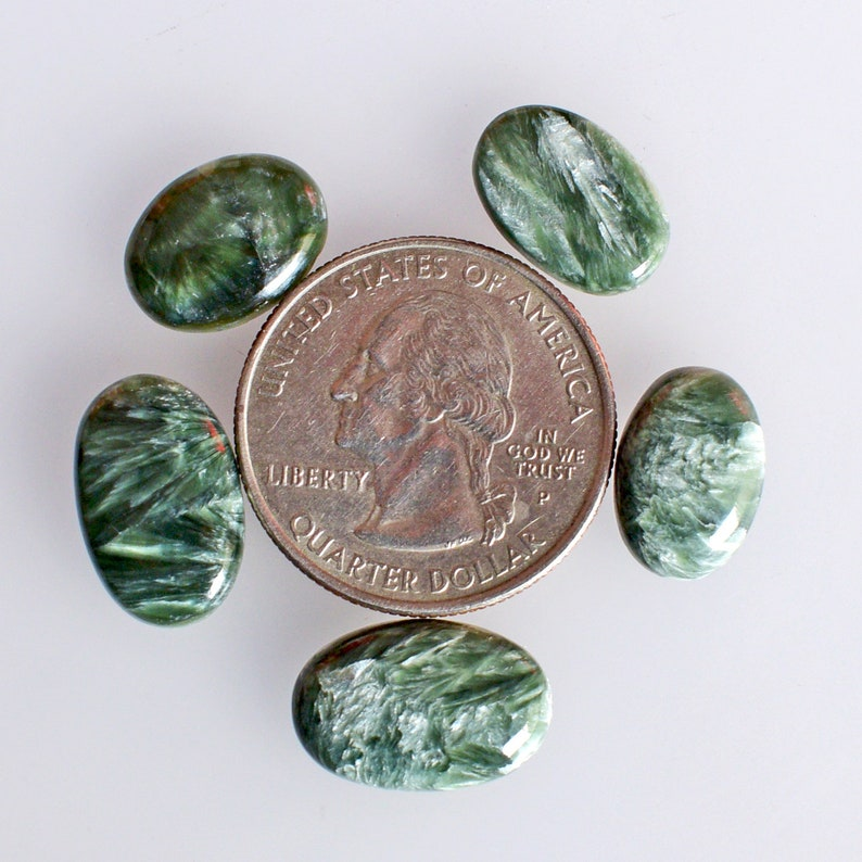 Natural Green Seraphinite 5 Pieces Lot Cabochon Smooth Polished Handmade Flat Back Seraphinite Suppliers 23855 Oval Shape Jewelry Making
