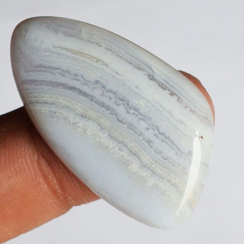 Loose Semi Precious Stone Genuine Blue Lace Agate Cabochon 11044 35x19x5MM Blue Lace Agate Pendant Stone Cabochon For Jewelry Making