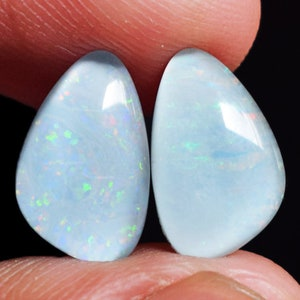 Sparkling Flashy Opal AG-10333 Designer Pair 37x14x2 MM Size Synthetic Purple Green Fire Opal Pair Cabochon Matched Earring Pair Stone