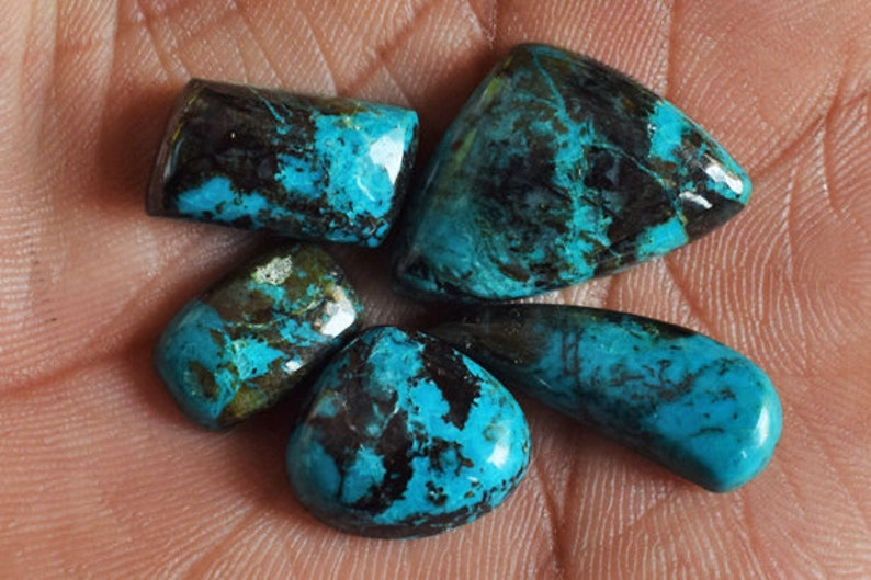 Ring Stone Jewellery Making Loose Semi Precious Beautiful Natural Chrysocolla 5 Pieces Lot Cabochon Pendant Stone 14060 Wholesale Lot