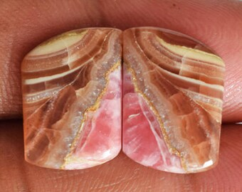 Nice Quality Natural Rhodochrosite Pair Cabochon, Matched Pair Gemstone, Making Earring Jewelry, Wholesale Suppilers, Handmade Stone, 9549
