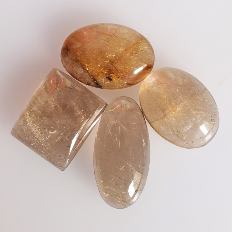Handmade 23787 Transparent Golden Rutilated Natural Golden Rutile Quartz 4 Piece Lot Cabochon From Brazil Smooth Polished Jewelry Making