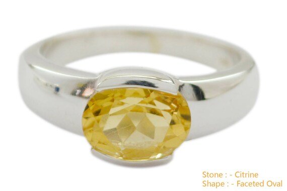 Supply Jewelry top Item Gift for Graduation Monogram Stack Ring Good Gemstones Round Faceted Citrine Ring 925 Sterling Silver Yellow Citrine Good Gemstones Ring