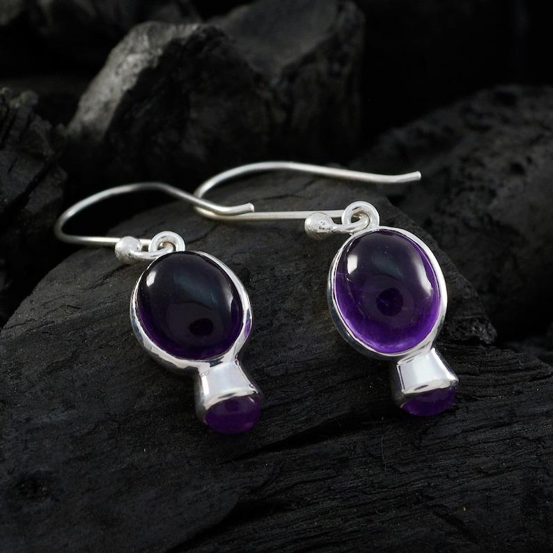 very nice jewelry greatest 925 Silver Purple Amethyst Natural Gemstone  Earring Natural Gemstone   Cabochon Amethyst Earring