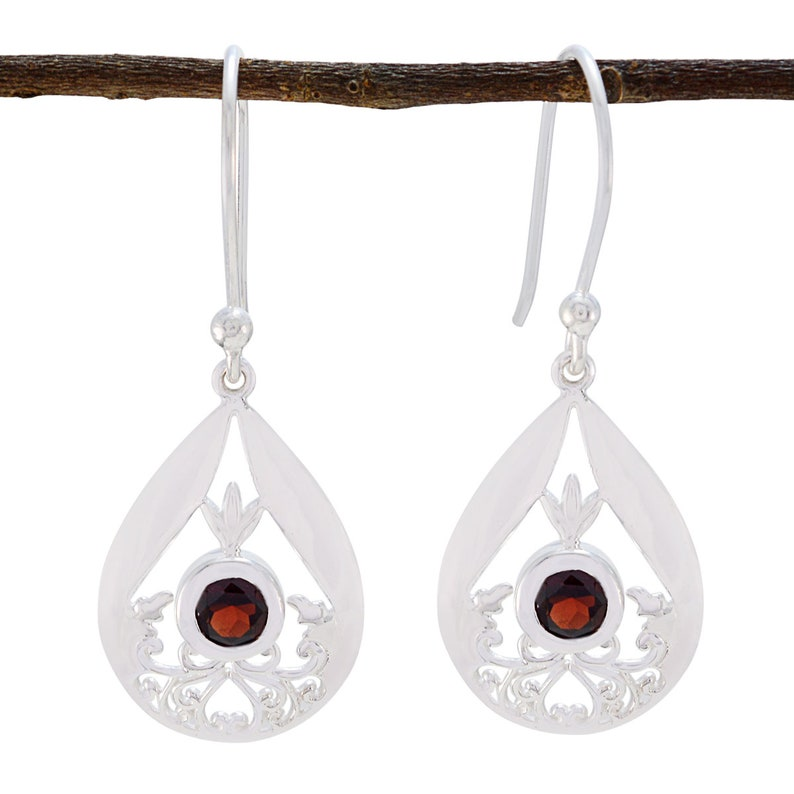 Solid Silver Red Garnet Real Gemstones Earring wedding jewelry highest  item gift for sister knot Real Gemstones  Faceted Garnet Earring