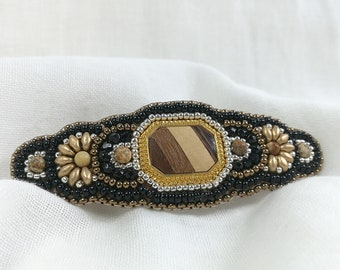 picture jasper Stone canyon jasper cabochon beadwork barrette Barrette seed beads 4mm beads bead embroidered 3 inch French barrette