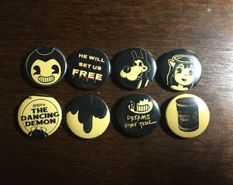 Bendy and The Ink Machine Pins - Set of 8