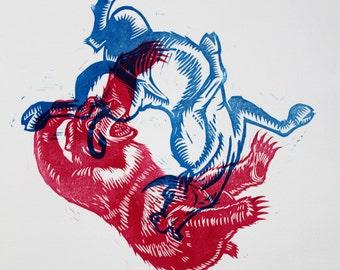 Bear v. Bull Linocut Print