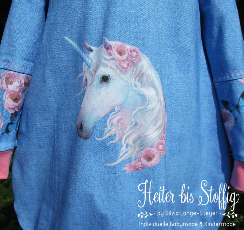 roses and butterflies. Super cute as a school dress with pink lace Magical Unicorn Dress Gr.116
