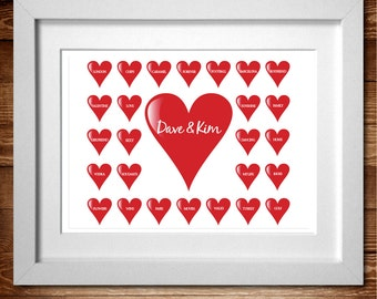 Hearts Personalised Word Art print* A4 (Also available as A3)