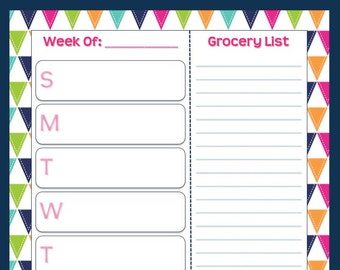Summer Days Weekly Meal Planning Sheet with Grocery List