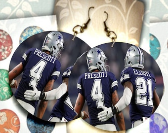 085812f14 Dallas Cowboys football players Elliot and Prescott team spirit cheerful  different trendy novelty unique one of a kind lightweight earrings