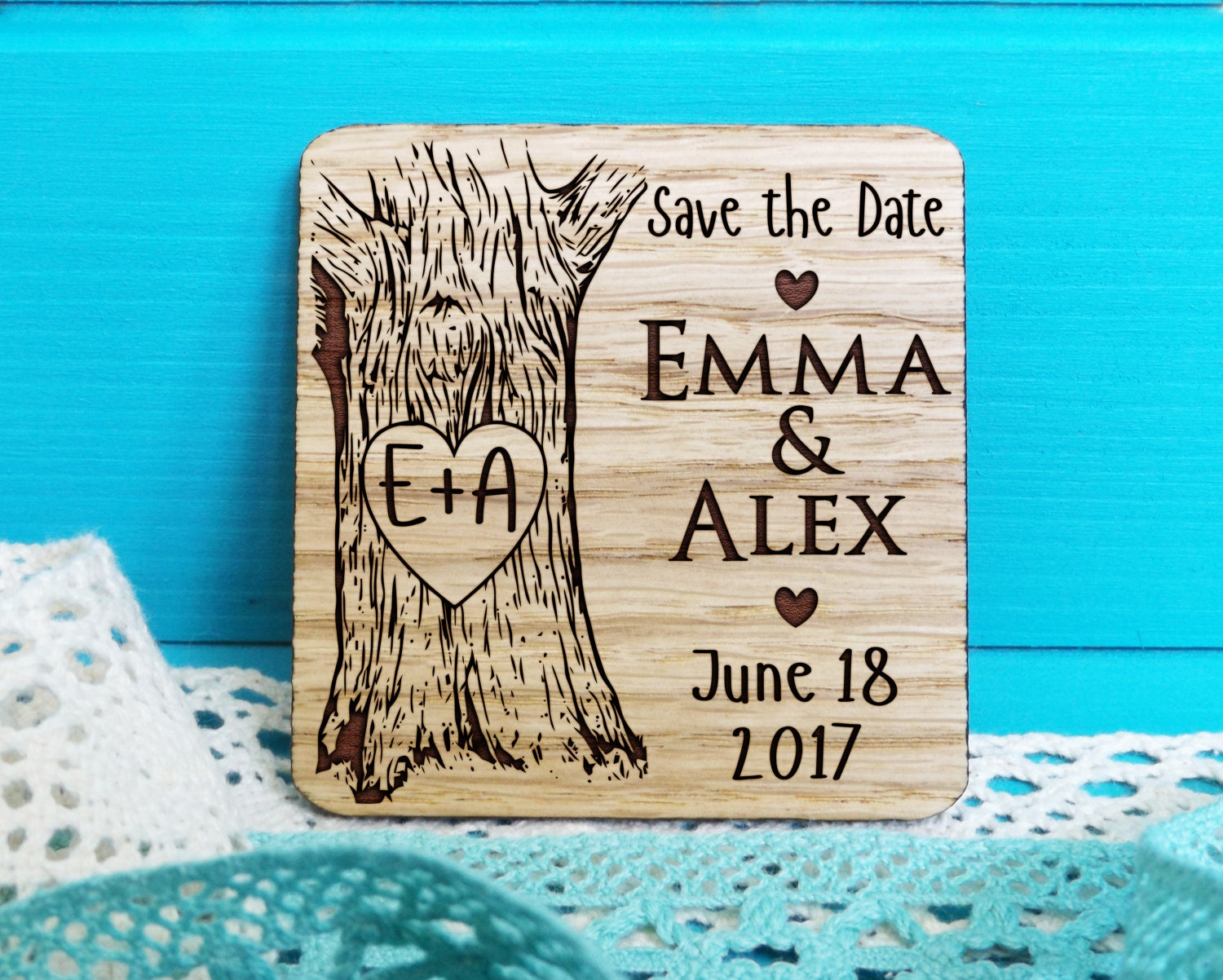 Wood Save-the-Date Magnet-Oak Tree Initials Save the | Etsy
