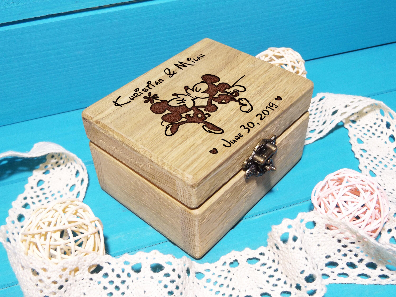 Personnalisé en bois Disney wedding box Minnie /& Mickey Mouse Fiançailles Cadeau