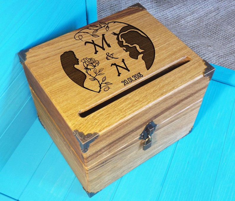 The Beauty And Beast Card Box Wedding Personalized Wood