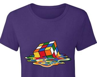 Tops & Tees Melting Rubiks Puzzle Cube Sheldon Nerd Geek Retro 80s Party Mens White T-shirt Men Funny O Neck Short Sleeve Cotton T Shirt