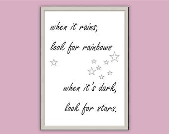 When it rains... // Typography Print // Home Decor // A5 A4 A3 // Wall Art