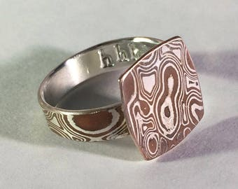 Mokume gane ring with square top size 10.5