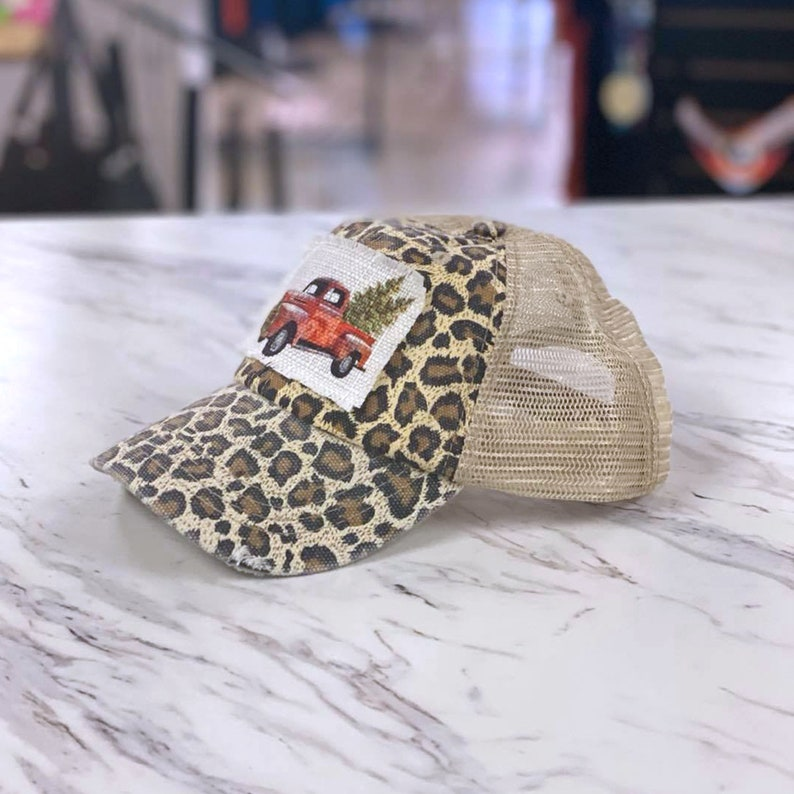 Vintage Christmas Truck Pony Tail Hat for Women