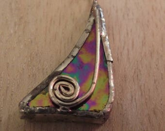 Stained Glass Pendant -  Hand Made - Necklace - Stained Glass - Celtic Spiral