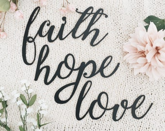 "Metal Sign Bundle ""Faith, Hope, Love"""