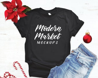297b1cfdf Christmas Tshirt Mockup - Bella Canvas 3001 - Holiday Flat Lay