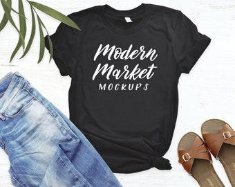 Download Free Black Tshirt Mockup - Bella Canvas Tee Summer Mockup PSD Template