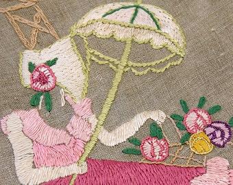 Beautiful 1940s Crinoline Lady Embroidery