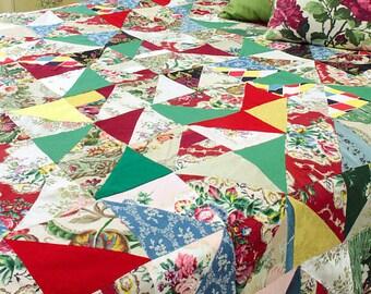 Colourful Vintage Patchwork Quilt