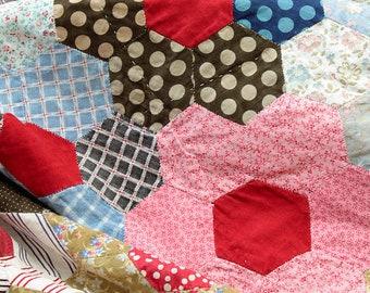 Beautiful Victorian Handsewn Patchwork Quilt